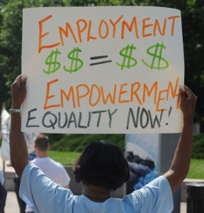 Employment = Empowerment 2010 protest sign