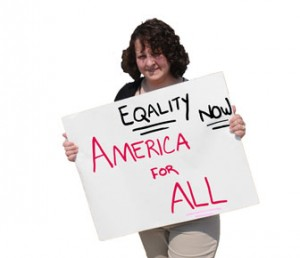 Equality Now America for All 2010 protest sign