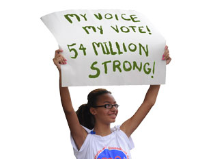 My Voice My Vote 2010 Protest Sign