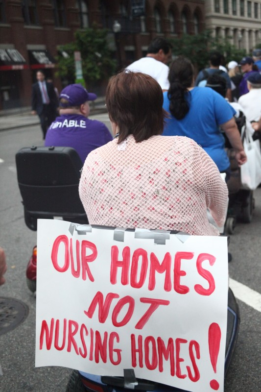 Our Homes Not Nursing Homes 2012 protest sign