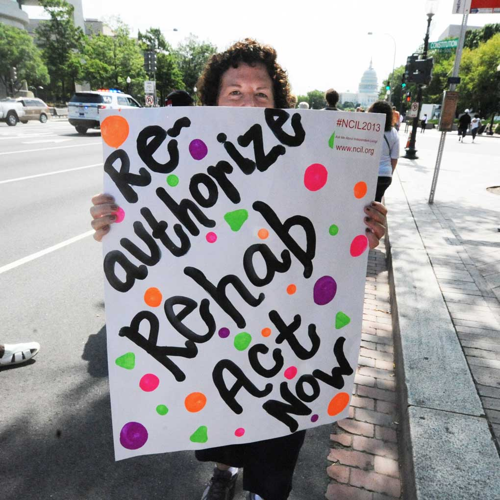 Reauthorize the Rehab Act 2013 Protest Sign