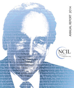 The 2015 Annual Report cover image features an artistic rendering of Senator Tom Harkin. The image is comprised of the words of his 2014 farewell speech on the floor of the US Senate