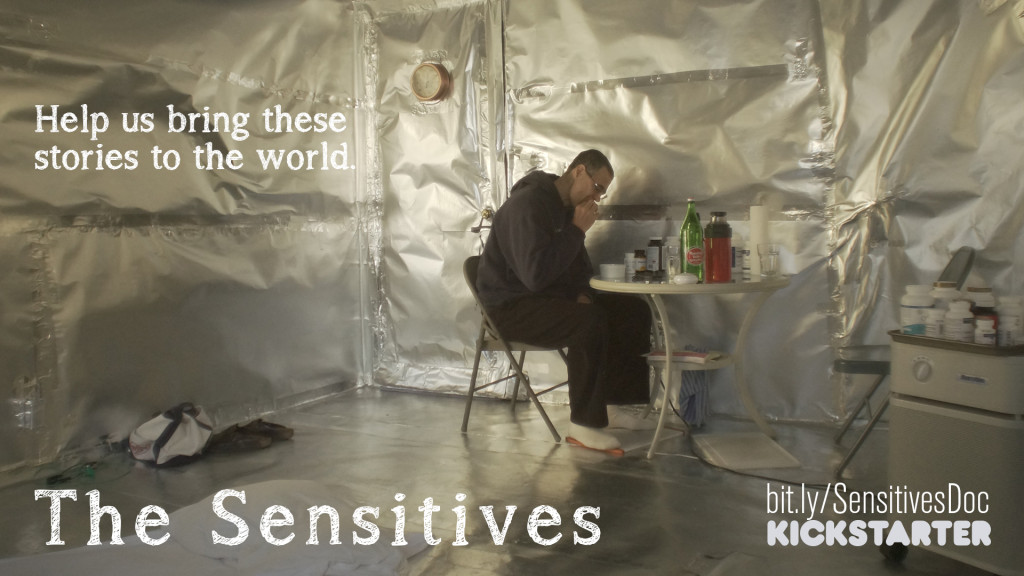 The Sensitives - bit.ly/SensitivesDoc Kickstarter - Help us bring these stories to the world - (Image: A man sits at a small table in a room covered in metallic foil