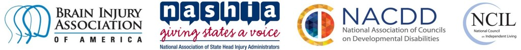Logos - Brain Injury Association of America - National Association of State Head Injury Administrators - National Association of Councils on Developmental Disabilities - National Council on Independent Living