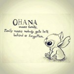 Quote saying Ohana means family - Family means nobody gets left behind - or forgotten