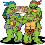 Teenage Mutant Ninja Turtles eat a pizza