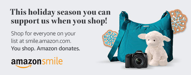 This holiday season you can support us while you shop! Shop for everyone on your list at smile.amazon.com. You shop Amazon donates. Amazon Smile logo. Image of camera, stuffed toy, and handbag.