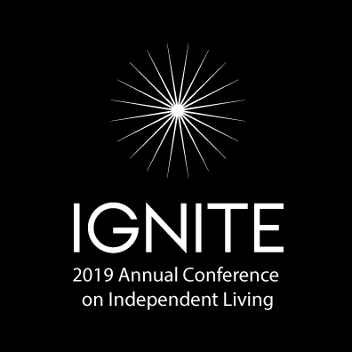 Logo: 2019 Annual Conference on Independent Living - featuring a white starburst graphic